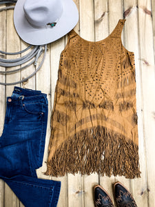 Cut Out Faux Leather Fringe Tunic - Ranch-Land Western Store