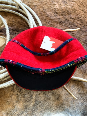 Red Plaid Wool Railroad Cap