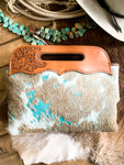 Hand Tooled Turquoise Acid Wash Cowhide Purse