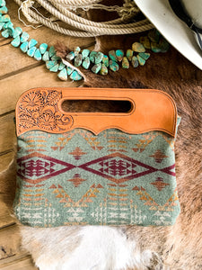Hand Tooled Green Pendleton Purse