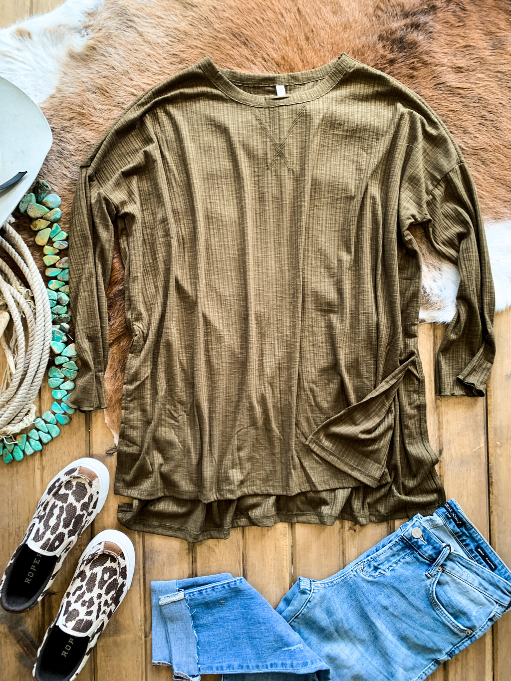 Olive Oversized Ribbed Knit Top