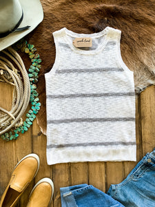 Ivory & Grey Stripe Sweater Tank
