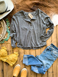 Charcoal Snap Henley Top