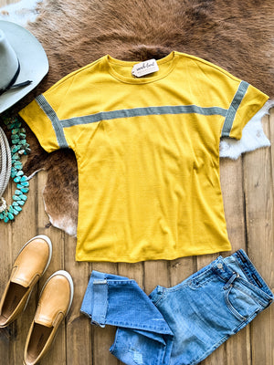 Mustard Stripe Taped Tee