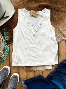 Ivory Grommet V-Neck Tank Top