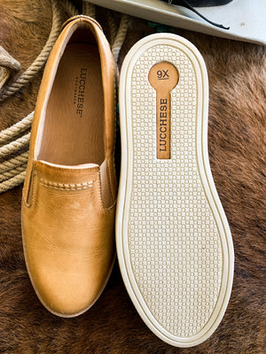Lucchese Burnished Leather Slip On Shoe