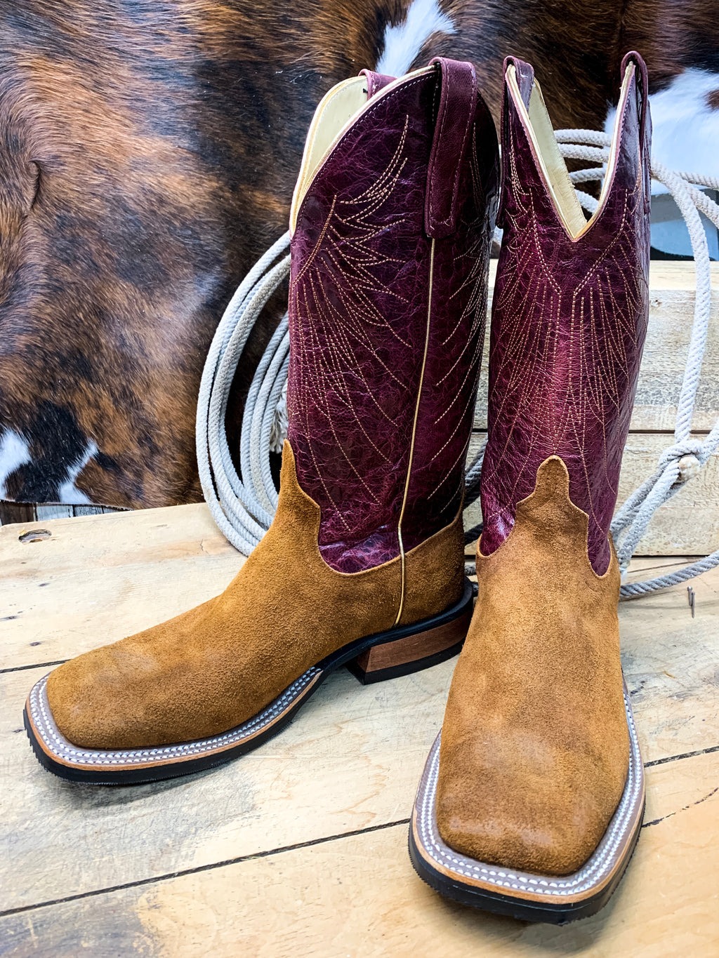 Anderson Bean Rust Ryan Roughout Square Toe Boot - Ranch-Land Western Store