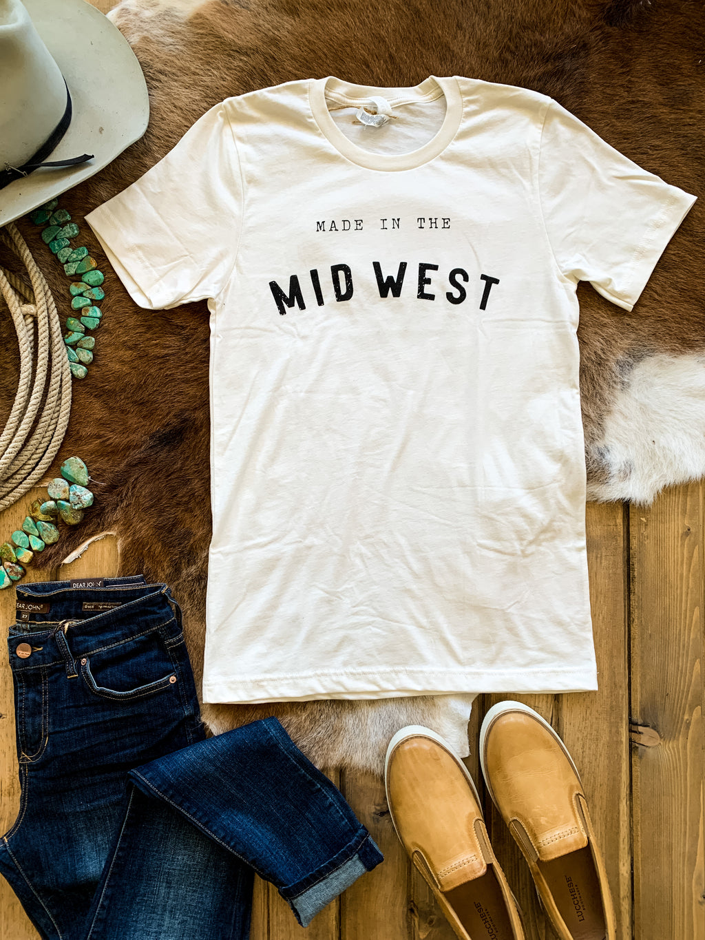 White Made In The Midwest Tee