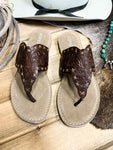 Brown Hand Tooled Sandal - Ranch-Land Western Store