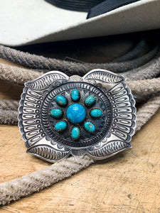 Sterling Silver Turquoise Buckle - Ranch-Land Western Store