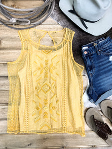 Ariat Gold Dust Embroidered Mesh Tank - Ranch-Land Western Store