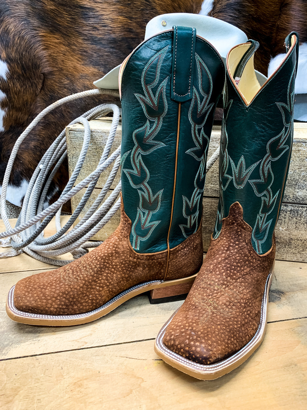 Anderson Bean Rust Carpincho Square Toe Boot - Ranch-Land Western Store