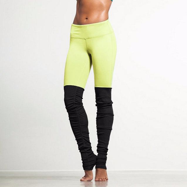 New Candy Colors And Black Patchwork Yoga Mid-Rise Waisted Workout Leggings for Women - Aspire Activewear