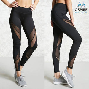 Premium Black Mesh High Waisted Workout Leggings - Aspire Activewear