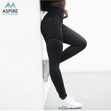 Premium Solid Color Patchwork Stretch High Waisted Workout Leggings for Women - Aspire Activewear