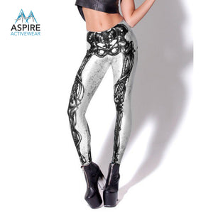 Awesome Skeleton Legs Printed Fashion Mid Waist Casual Leggings for Women - Aspire Activewear