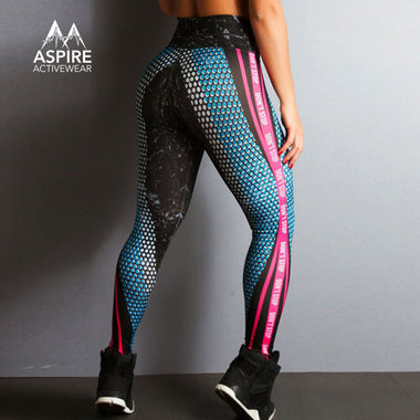 High Waisted Honeycomb Printed Workout Leggings - Aspire Activewear