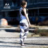 Eye-catching Grey White and Black Geometric Printed  High Waisted Workout Leggings for Women - Aspire Activewear
