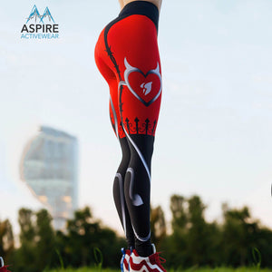 Flashy Red Heart Printed Garter Mid-Rise Waisted Workout Leggings for Women - Aspire Activewear