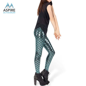 Metallic Cyan Mermaid High Waisted Workout Leggings for Women - Aspire Activewear