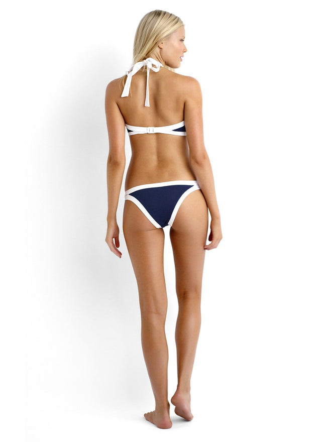 High Neck Blue with White Outline Halter Top Women's Bikini Swimsuit - Aspire Activewear
