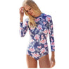 Long Sleeve Purple and White Floral Print Surfing Women's One-Piece Swimsuit - Aspire Activewear