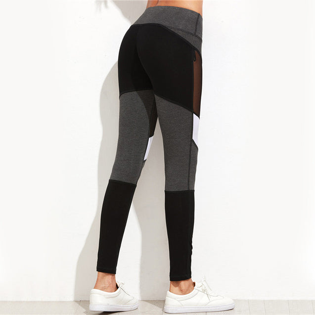 Premium Solid Black Mesh Mid-Rise Waisted Workout Leggings for Women - Aspire Activewear