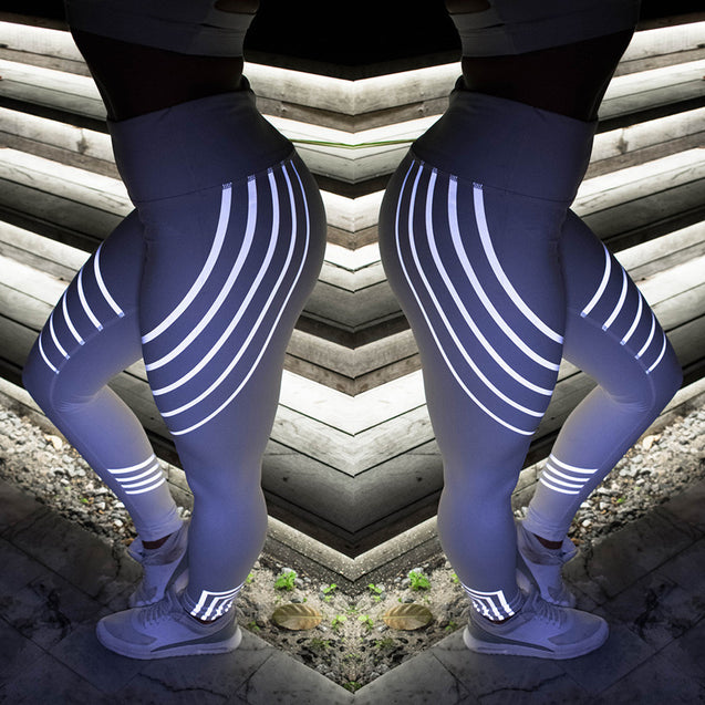 Amazing Light Reflective  High Waist Workout Leggings for Women - Aspire Activewear