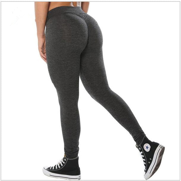 Casual Solid Color Push Up High Waisted Leggings - Aspire Activewear