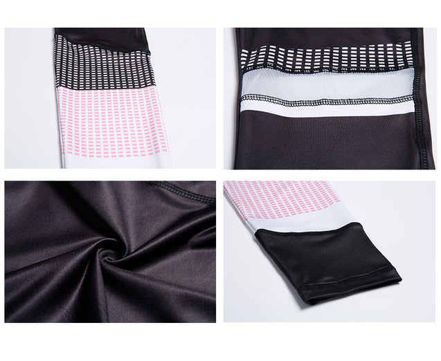 Cute Black White and Pink Mesh High Waisted Spliced Workout Leggings for Women - Aspire Activewear