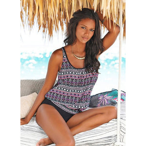 Vintage Pink Black and White Print Beach Wear Women's Tankini Swimsuit - Aspire Activewear