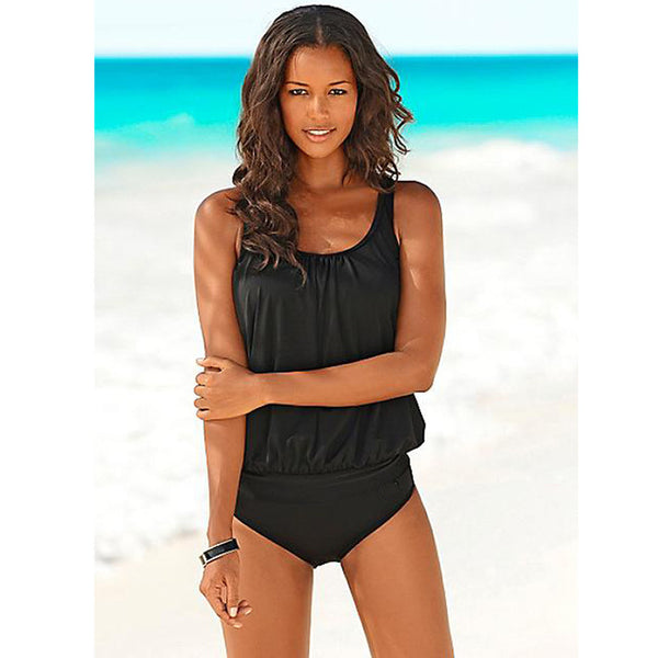 Vintage Solid Black Beach Wear Women's Tankini Swimsuit - Aspire Activewear