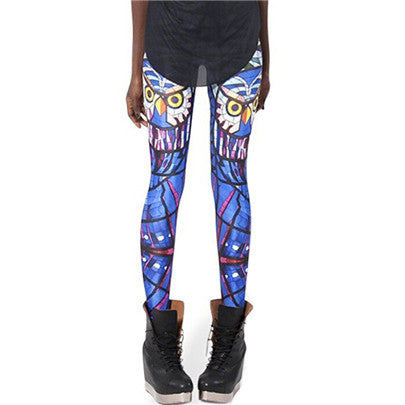 Fun Blue Owl Printed Yoga Mid Waist Casual Leggings for Women - Aspire Activewear