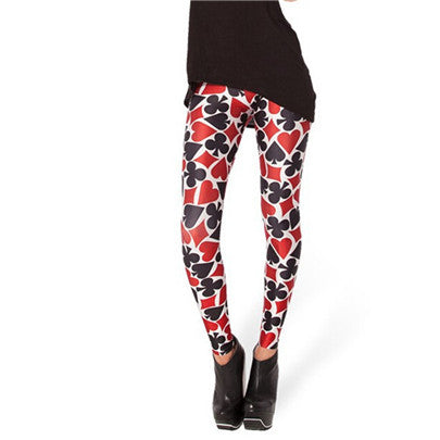 Flashy Playing Card Printed Fashion Mid Waist Casual Leggings for Women - Aspire Activewear