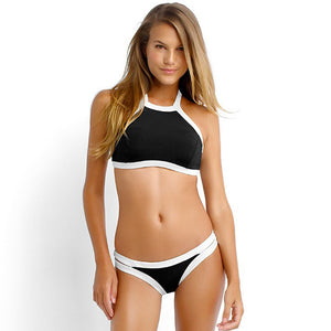 High Neck Black with White Outline Halter Top Women's Bikini Swimsuit - Aspire Activewear