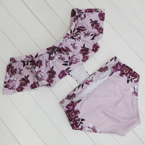 Low V-Cut Purple and Pink Floral Print Halter Top Women's One-Piece Swimsuit - Aspire Activewear