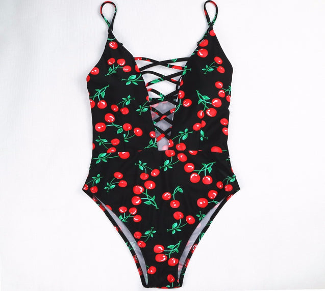 One Piece Vintage Hollow Out Lace Up One Women's Swimsuit - Aspire Activewear