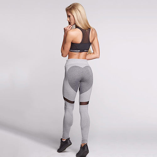 Foxy Grey Heart Patchwork Push Up High Waisted Workout Leggings for Women - Aspire Activewear