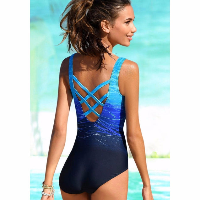 New Vintage Black Blue Purple Orange Gradient Print Criss Cross Back Women's One-Piece Swimsuit - Aspire Activewear