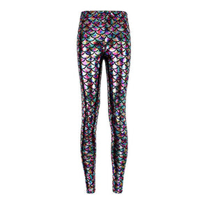 Metallic Poly-chromatic Mermaid High Waisted Workout Leggings for Women - Aspire Activewear