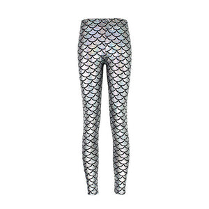 Metallic Silver White Mermaid High Waisted Workout Leggings for Women - Aspire Activewear