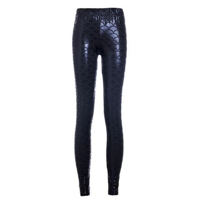Metallic Black Mermaid High Waisted Workout Leggings for Women - Aspire Activewear