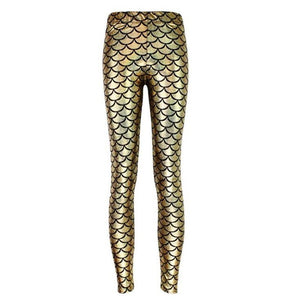 Metallic Gold Mermaid High Waisted Workout Leggings for Women - Aspire Activewear
