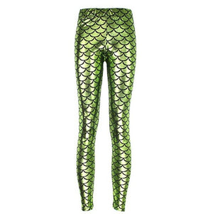 Metallic Light Green Mermaid High Waisted Workout Leggings for Women - Aspire Activewear