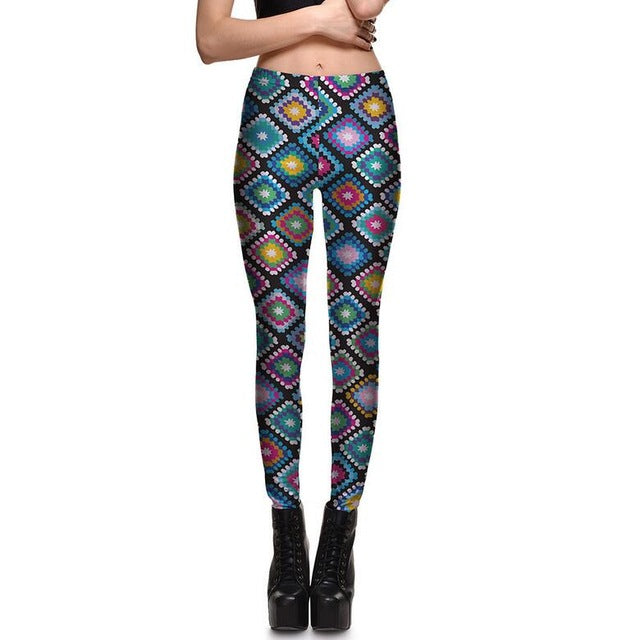 Enchanting Colorful Grid Printed Yoga Mid Waist Casual Leggings for Women - Aspire Activewear