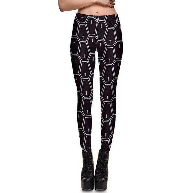 Gothic Black Rhombus Cross Printed Fashion Mid Waist Casual Leggings for Women - Aspire Activewear