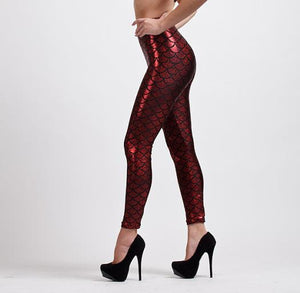 Metallic Red Mermaid High Waisted Workout Leggings for Women - Aspire Activewear