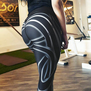 Trending Digital Streamer Print Striped Mid-Rise Waisted Workout Leggings for Women - Aspire Activewear