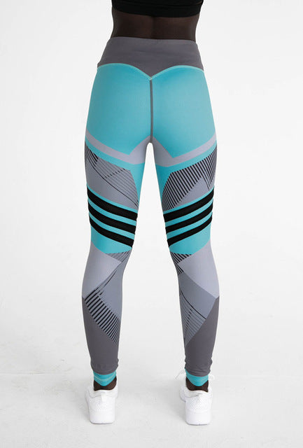 Eye-catching White Black Pink and Turquoise Printed High Waist Push-Up Workout Leggings for Women - Aspire Activewear
