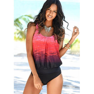 Vintage Red and Black Criss Cross Print Beach Wear Women's Tankini Swimsuit - Aspire Activewear